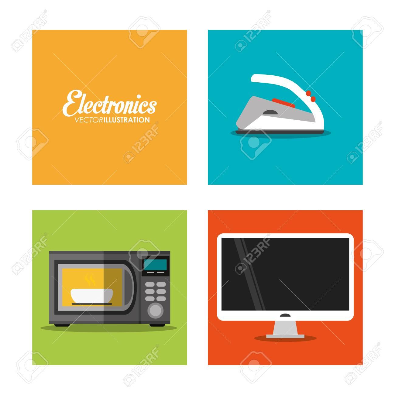 Mikrowelle Fernseher Und Bügeleisen Symbol. Elektronische Geräte Und ...