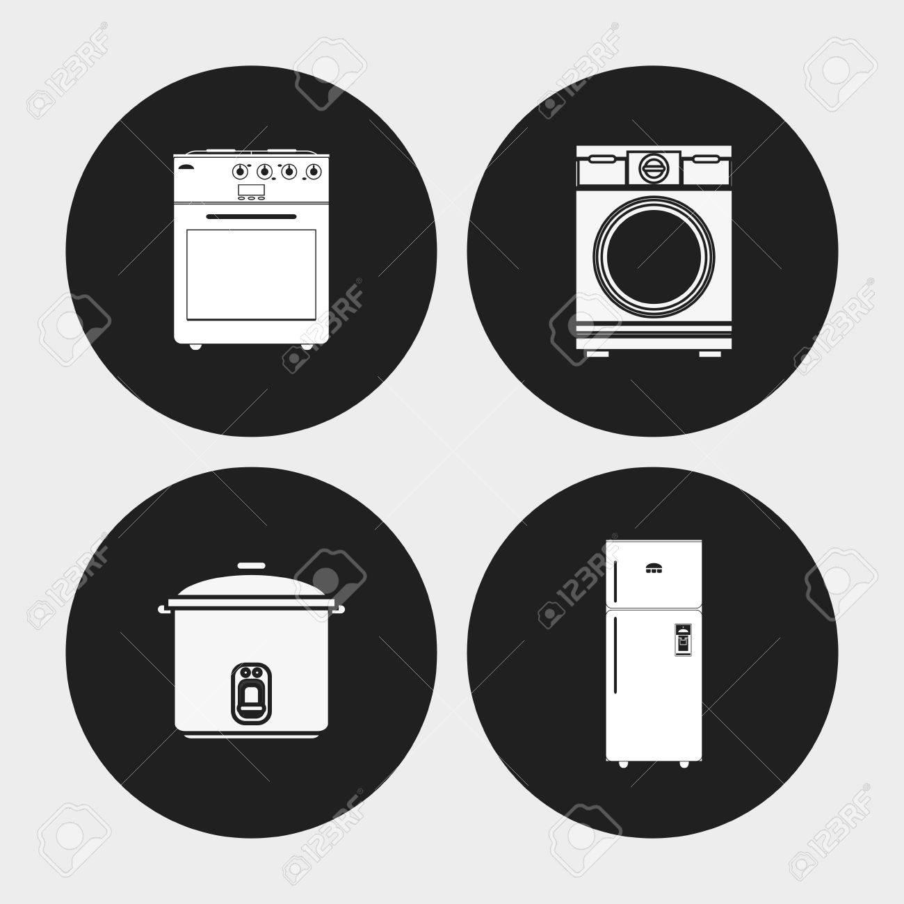Herd Herd Waschmaschine Und Kühlschrank-Symbol. Elektronische Geräte ...