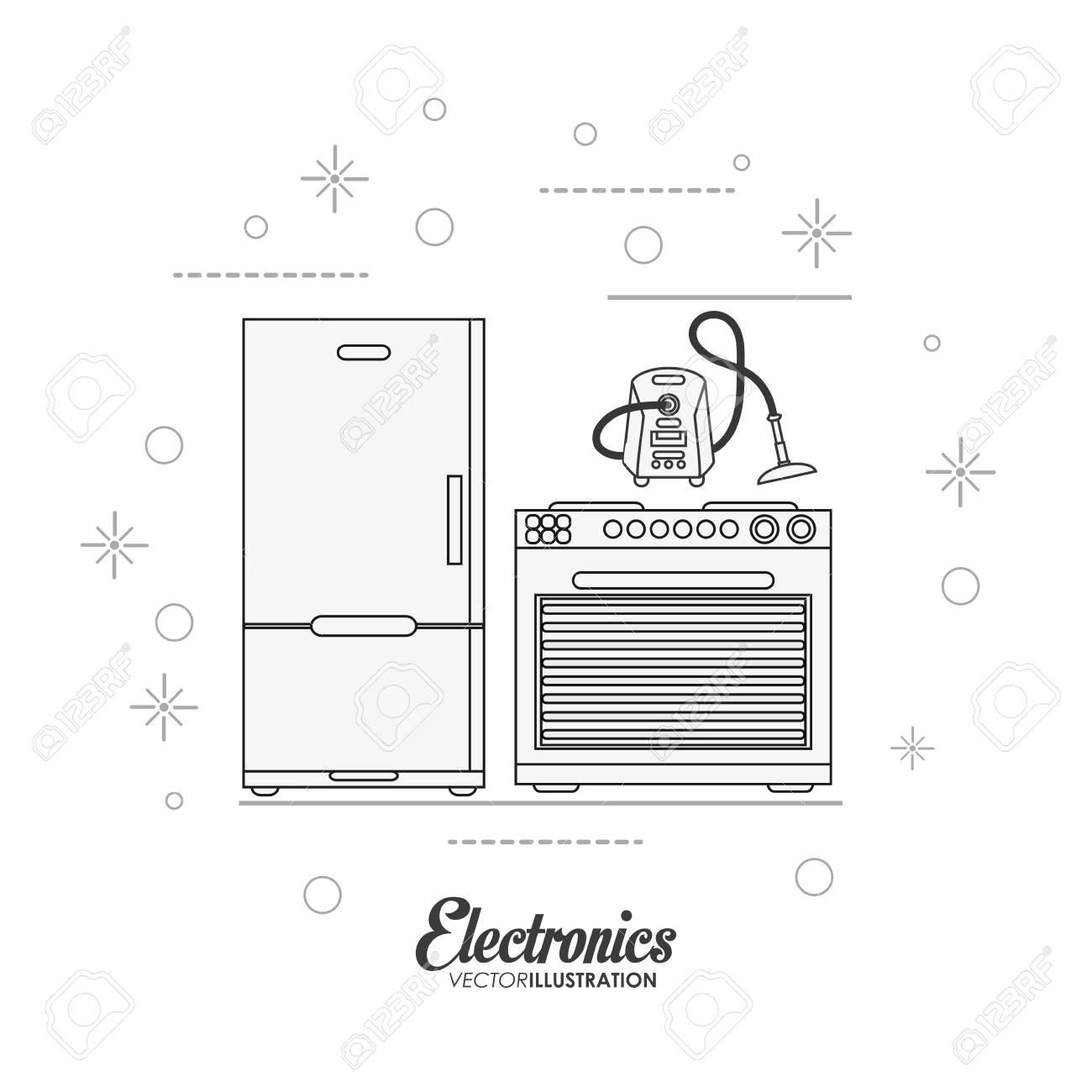 Kühlschrank Herd Und Vakuum-Symbol. Elektronische Geräte Und Zubehör ...