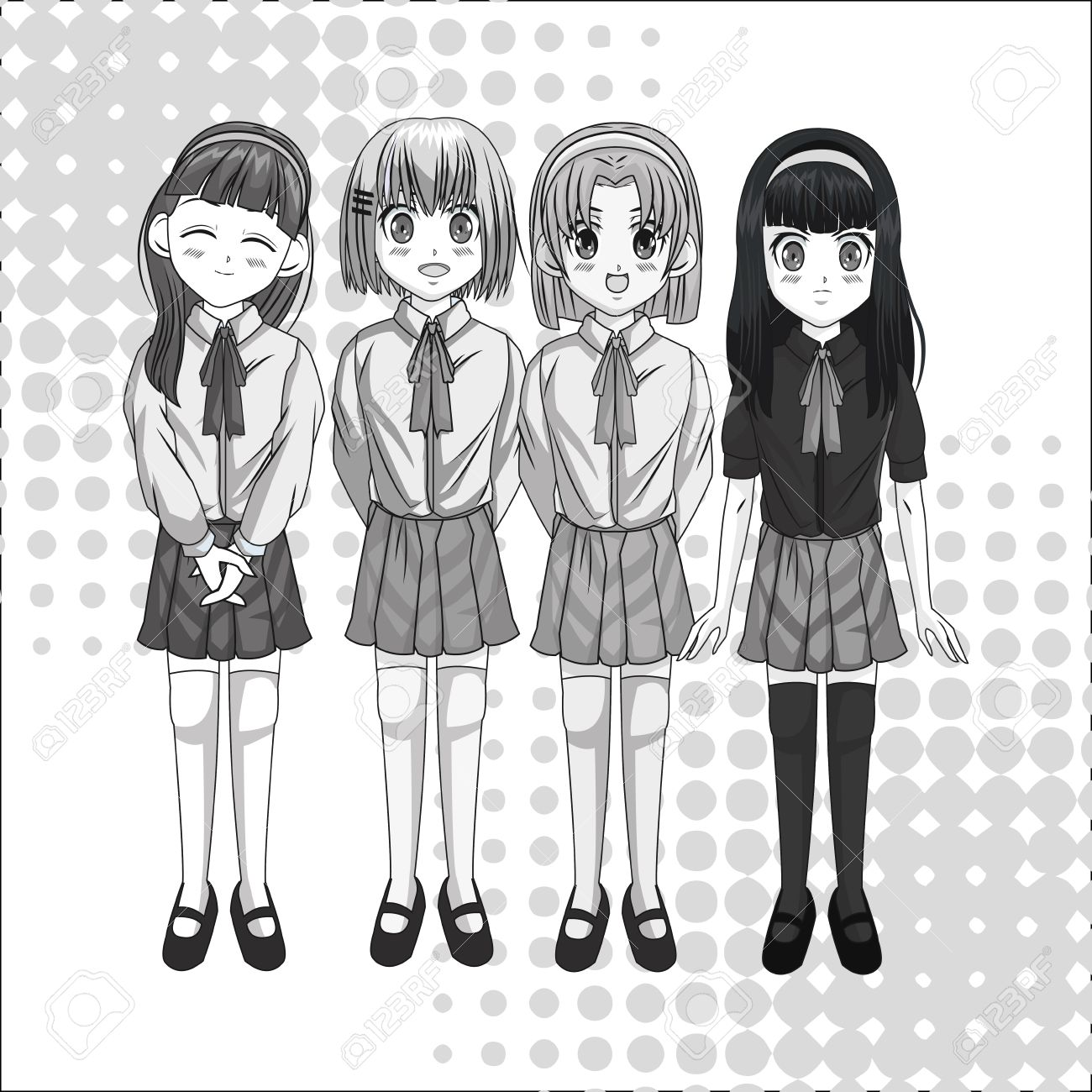 Cartoon and student girl kid anime manga and comic theme grey design pointed