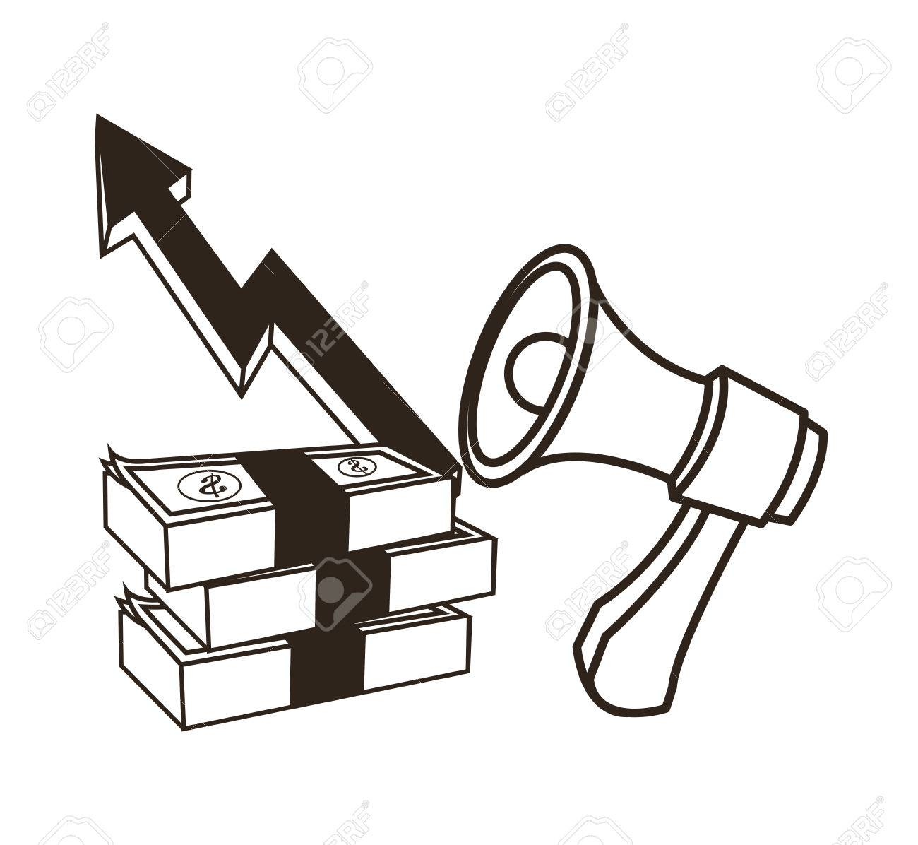bills and megaphone with growth arrow icon money economy commerce rh 123rf com