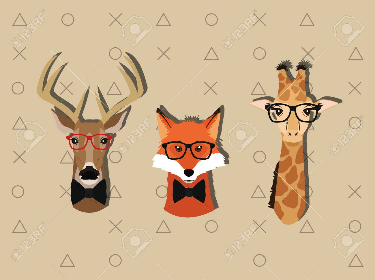 flat design hipster style animals image vector illustration Banque d'images - 62640999