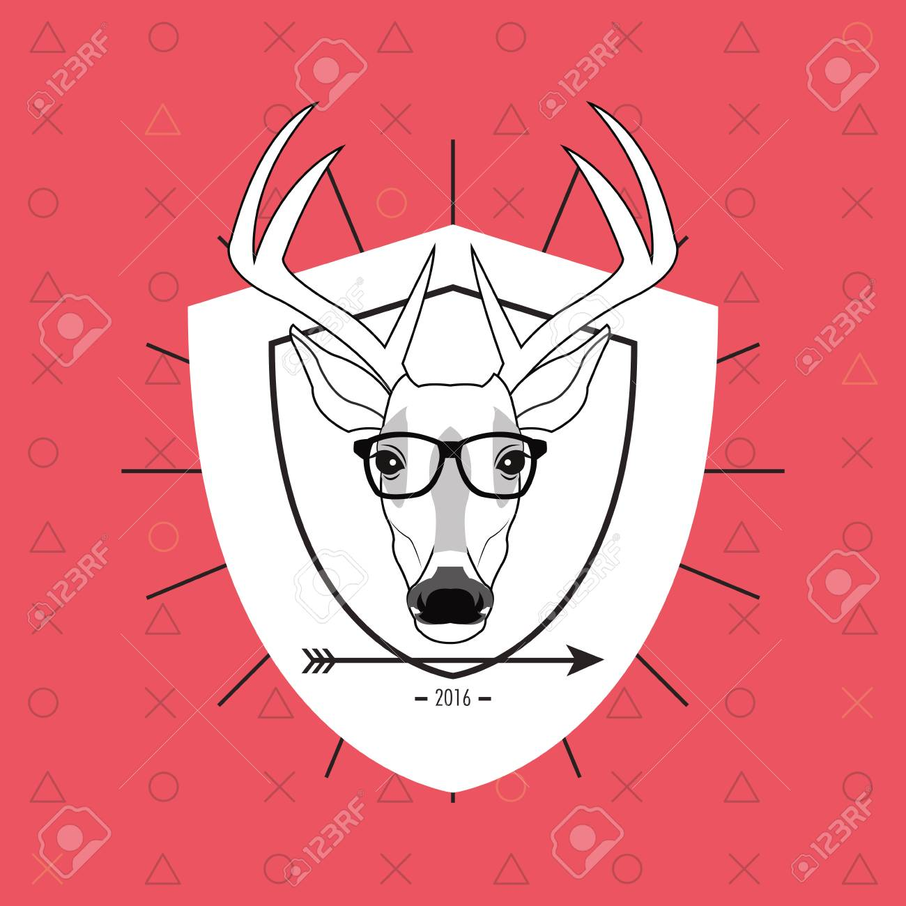 Attraktiv Flat Design Hipster Style Deer Image Vector Illustration Stock Vector    62555676
