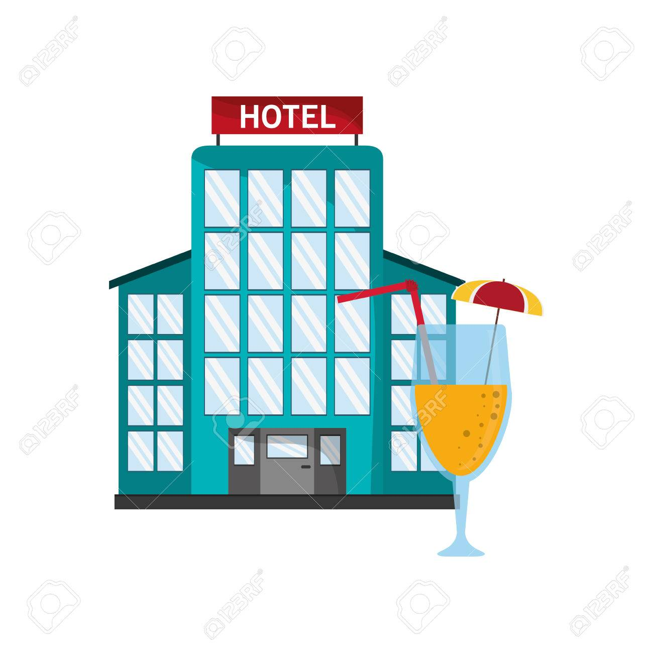 flat design hotel and cocktail icon vector illustration royalty free rh 123rf com hotel victoria hotel victor miami