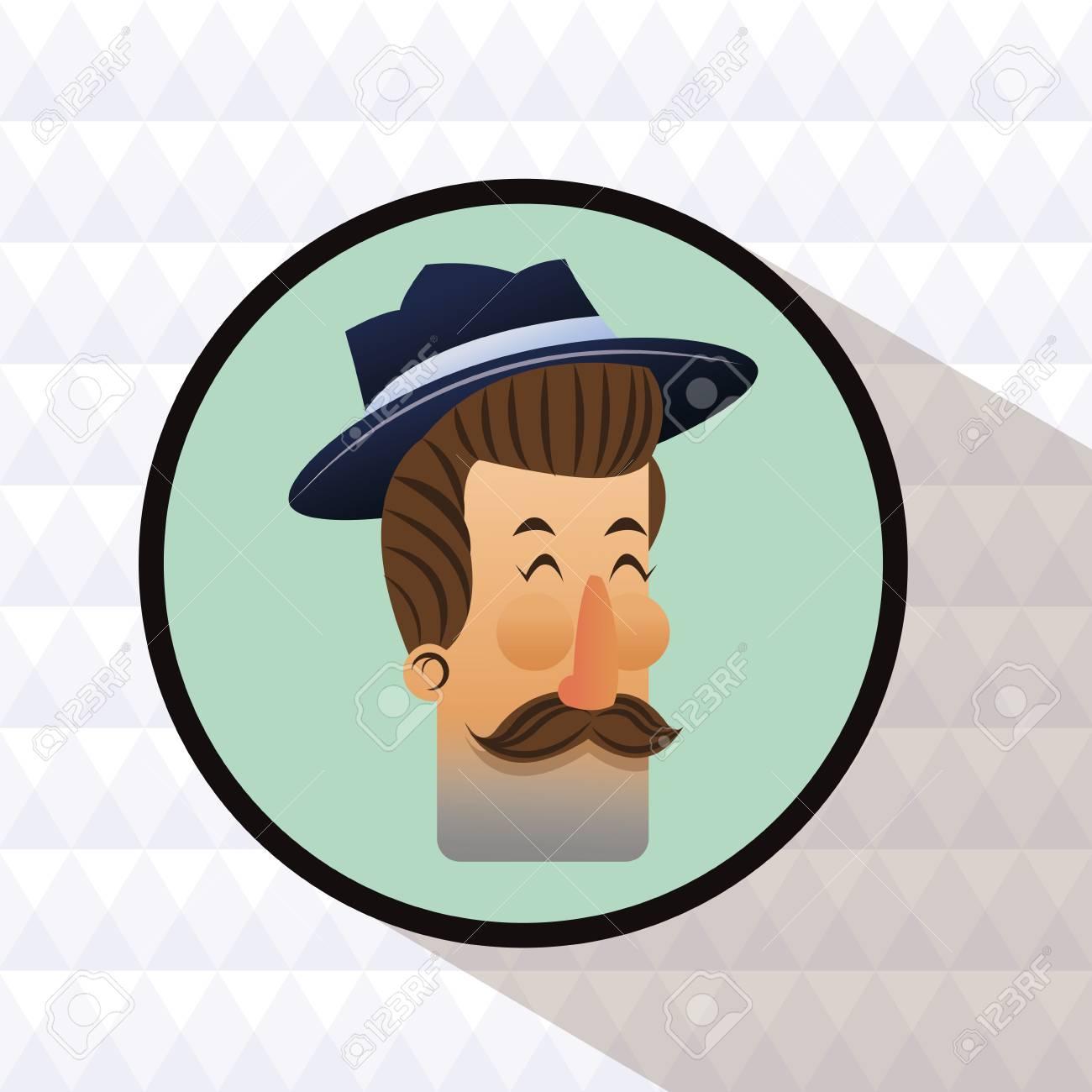 75320ae398f66 Dibujos animados de hombre inconformista con bigote y sombrero dentro del  icono del círculo. Estilo