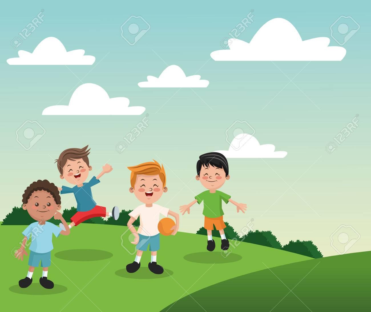 Vettoriale gruppo di bambini felici ragazzi dei cartoni animati