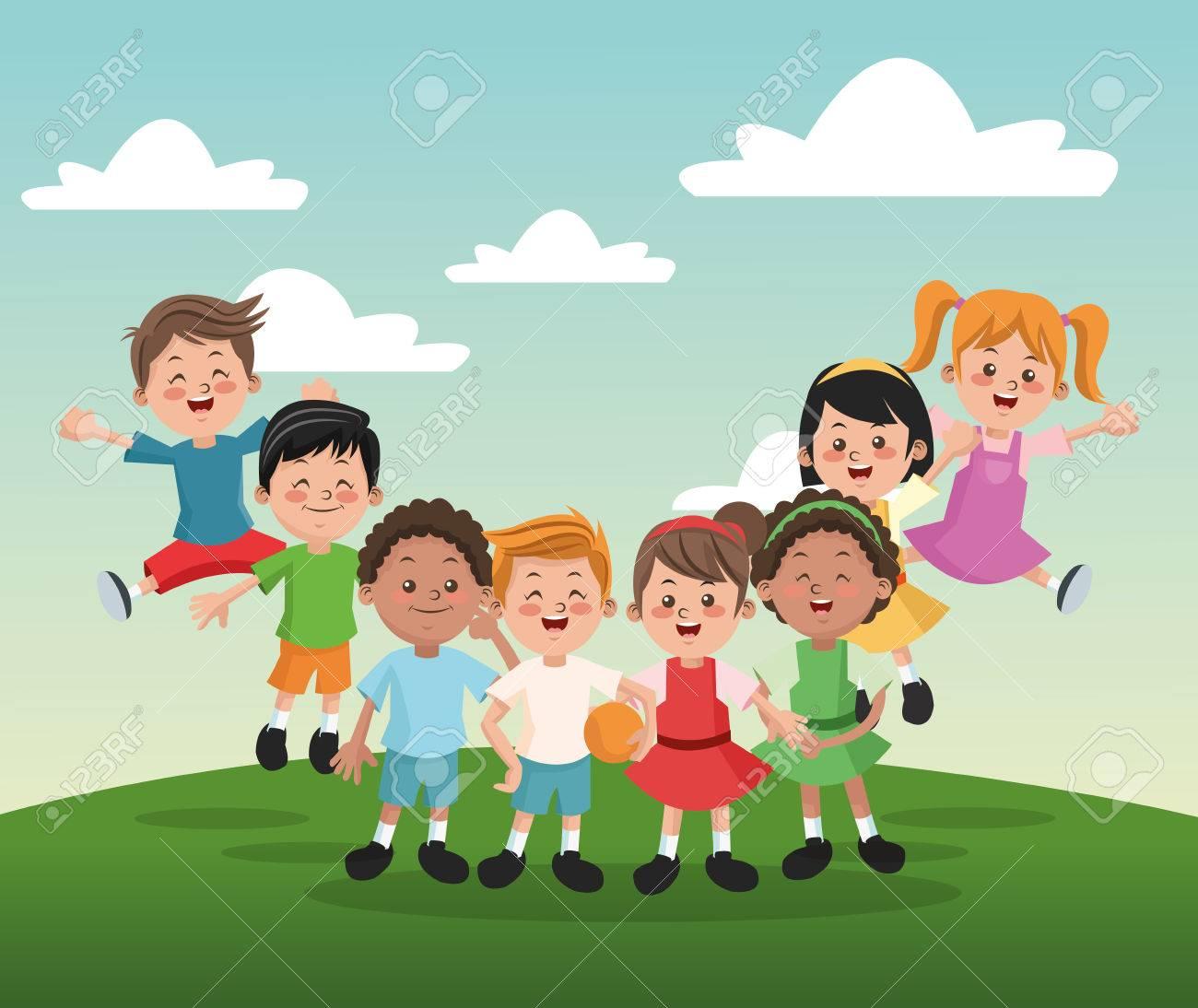Vettoriale gruppo di ragazze felici e bambini ragazzi dei