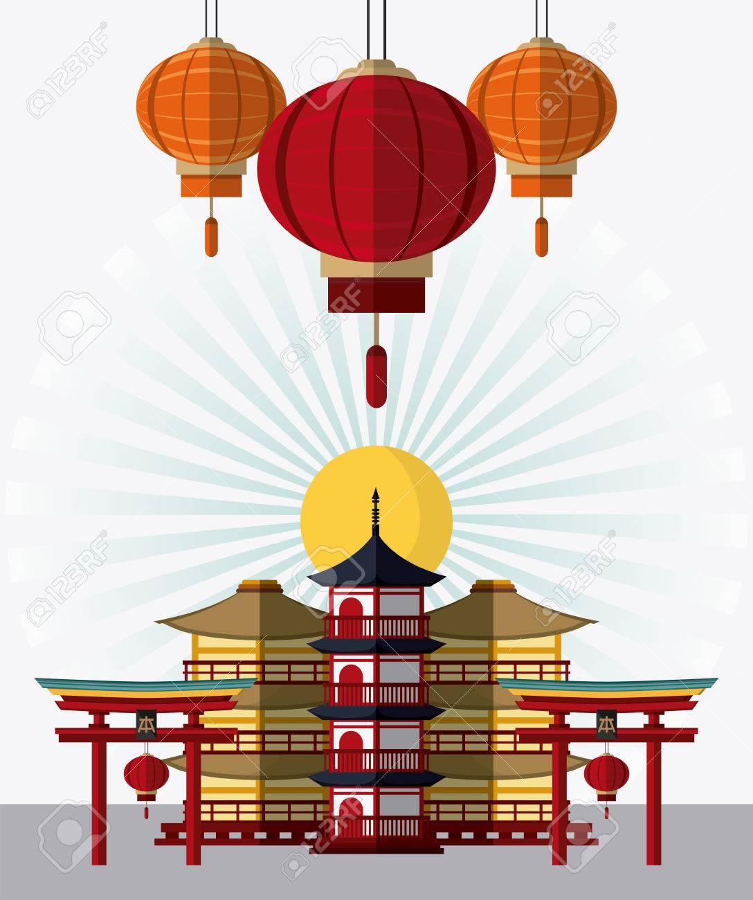 Turmgebaude Bogen Und Lampen Symbol Japan Kultur Wahrzeichen Und