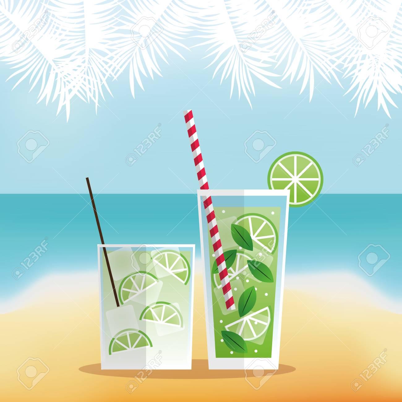 Cocktail-Symbol. Sommer-Party Getränke Und Getränke Thema. Bunte ...