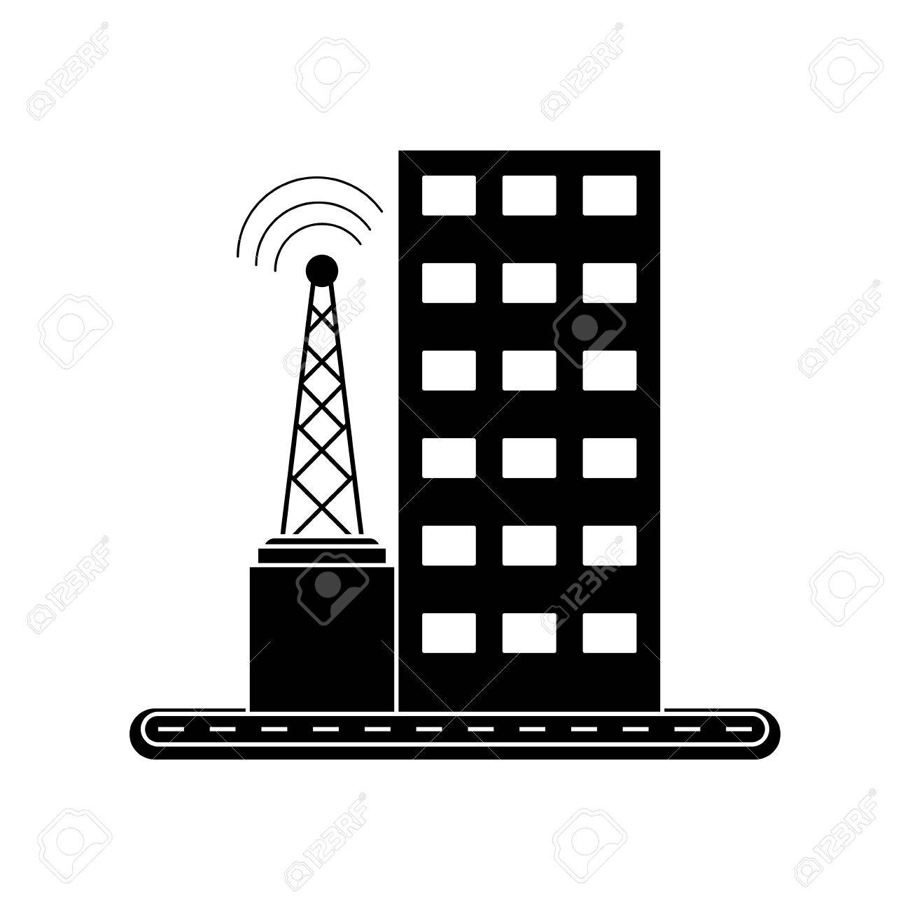 Building With Windows And Antenna Icon. Architecture City And ...