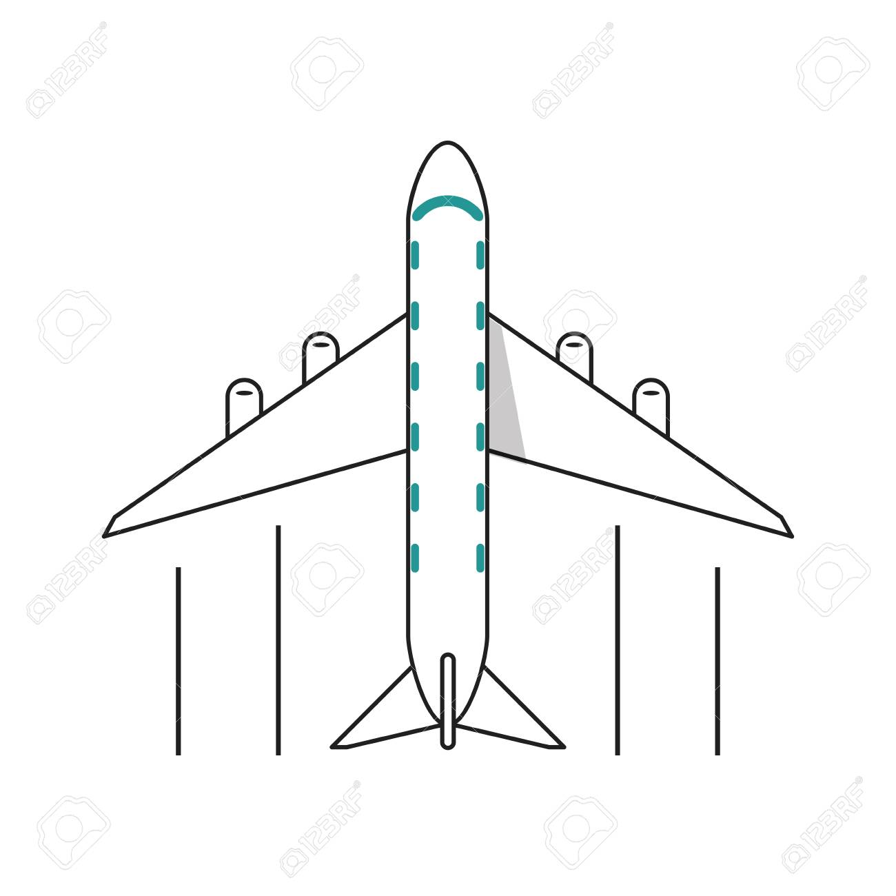 Airplane Vehicle Icon Transportation Travel And Ride Theme