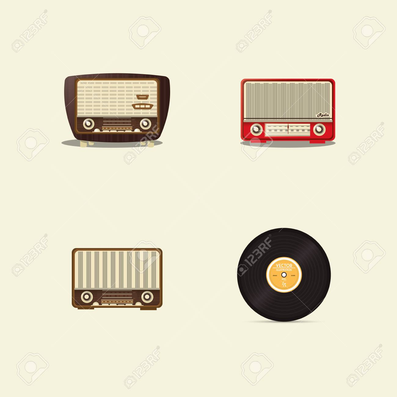 Flat Design Retro Radio With Vinyl Record Image Vector Illustration ...