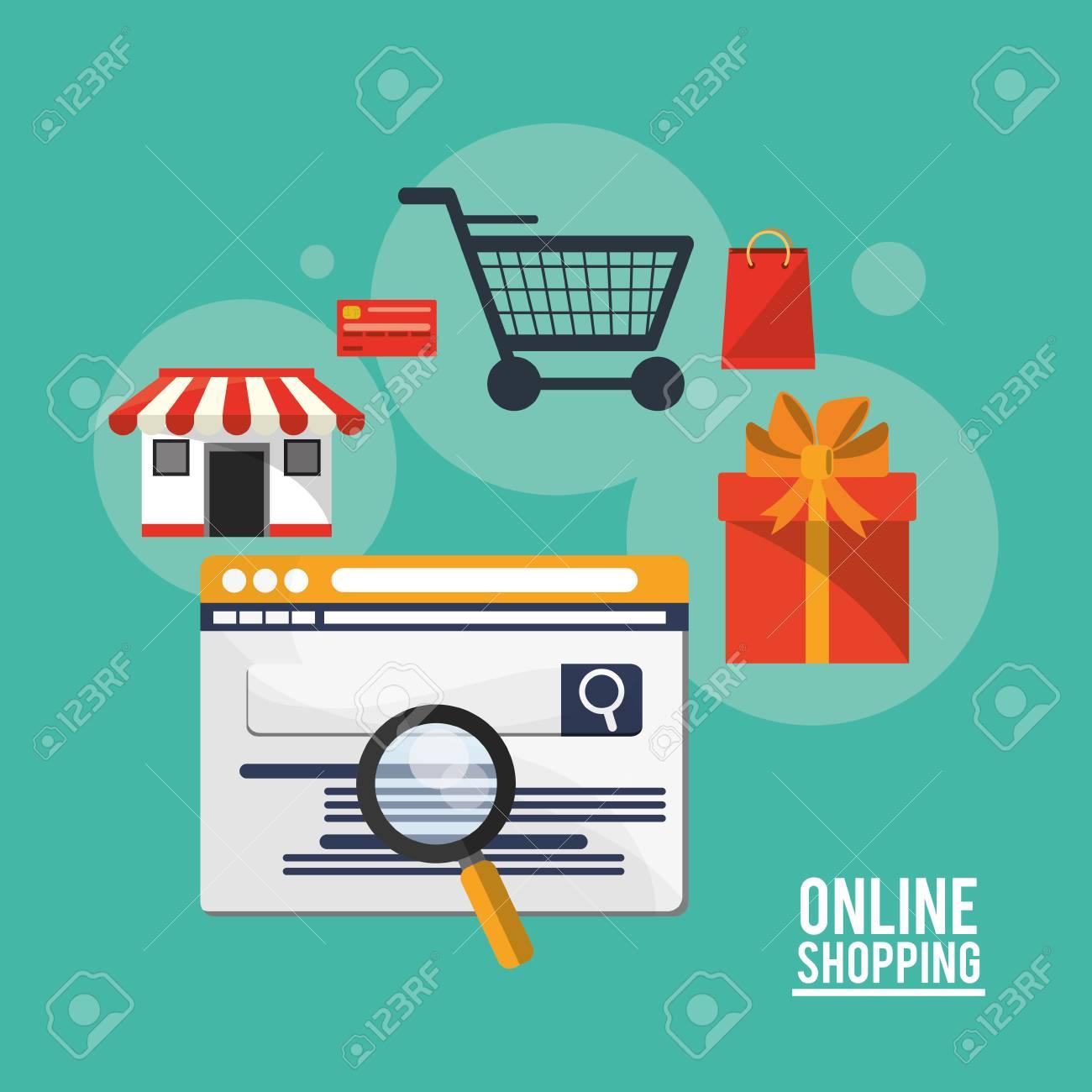 timeless design 91683 9fade Icona di lupe e regalo del carrello del negozio di sito Web. Shopping  online ecommerce e temi multimediali. Design colorato Illustrazione  vettoriale