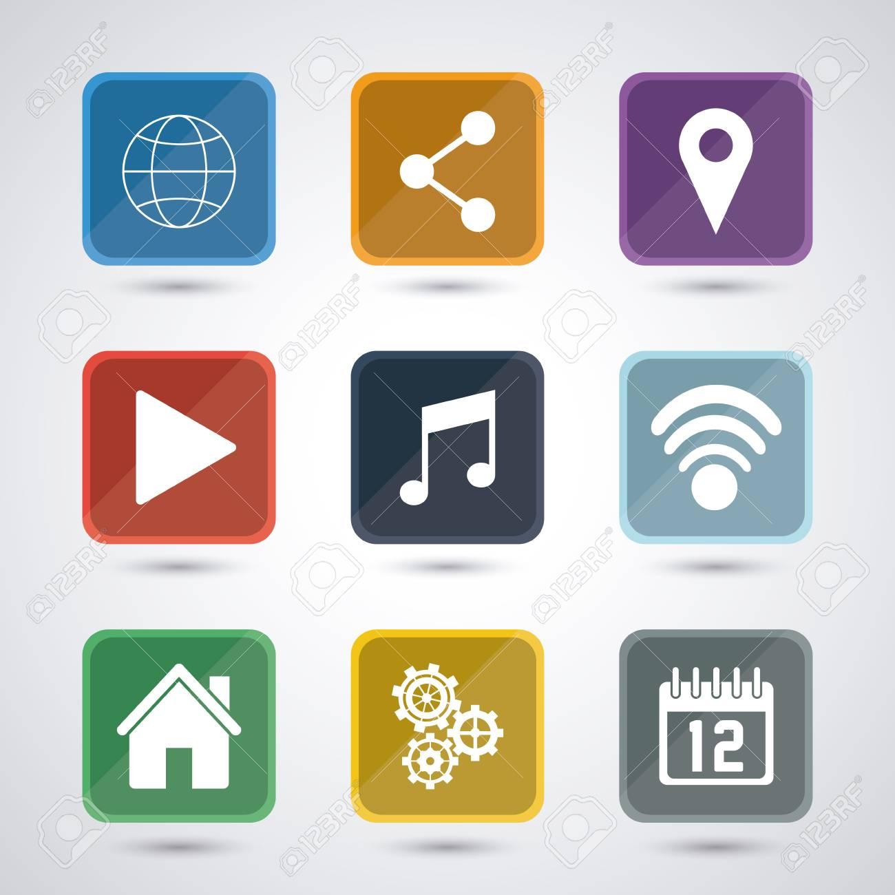 Aplicaciones Y Marcos Conjunto De Iconos. Internet Aplicación Y El ...