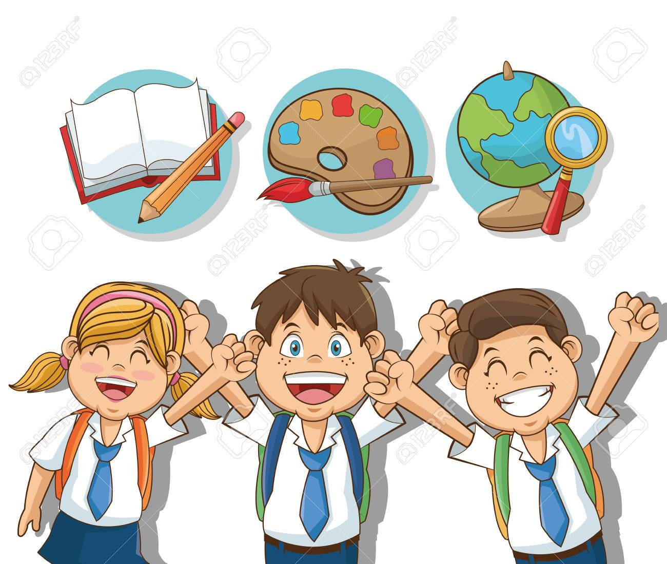 Boys And Girl Cartoons Students Back To School Education And Royalty Free Cliparts Vectors And Stock Illustration Image 63262013