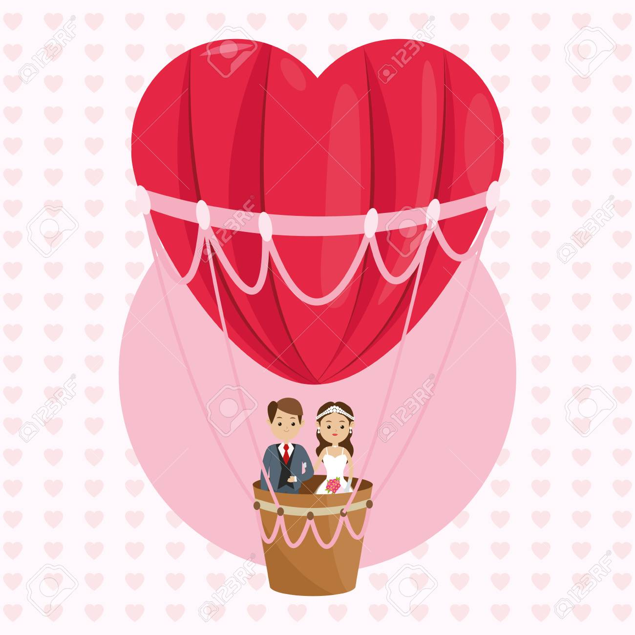 Man And Woman Cartoon Couple In A Hot Air Balloon Icon. Wedding ...