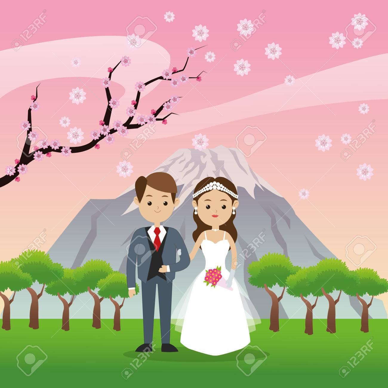 Man And Woman Cartoon Couple Icon Over Landscape. Wedding And ...