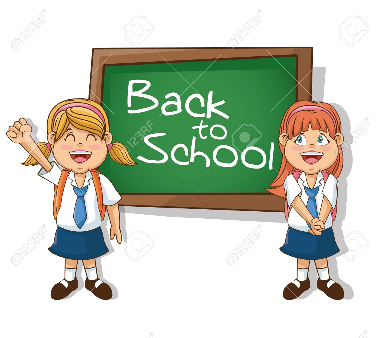 Girls Cartoons Students With Blackboard Back To School Education Royalty Free Cliparts Vectors And Stock Illustration Image 63236547