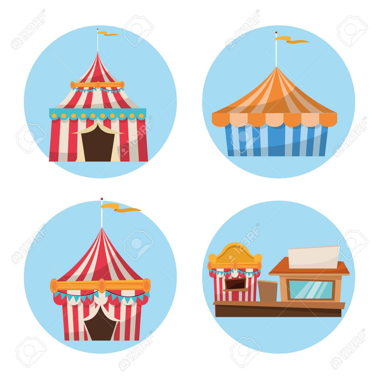 Striped tents with flags and stand. Carnival festival fair circus and celebration theme. Colorful  sc 1 st  123RF Stock Photos & Striped Tents With Flags And Stand. Carnival Festival Fair Circus ...