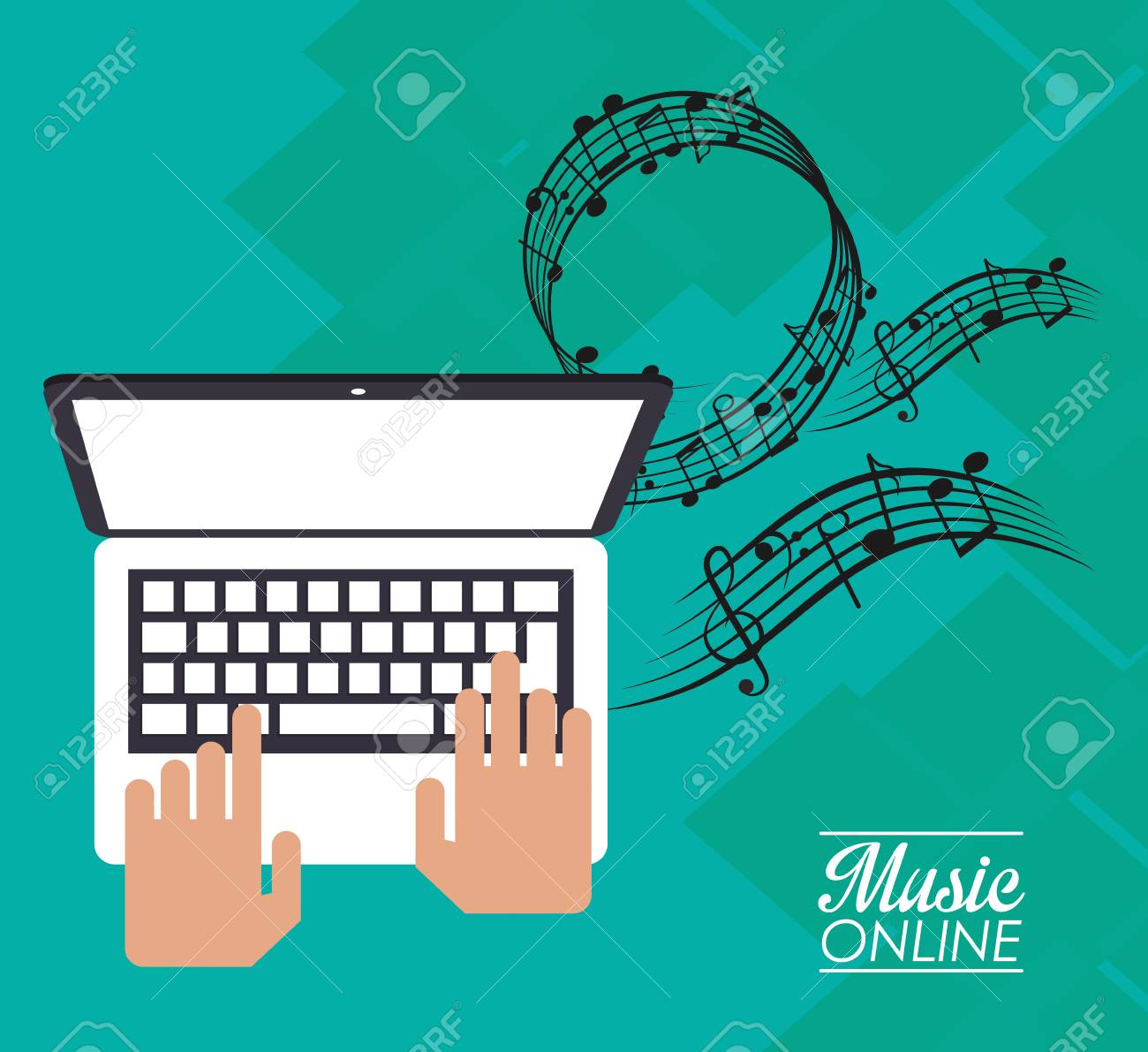 Laptop And Music Note Icon. Music Online Sound Technology And ...