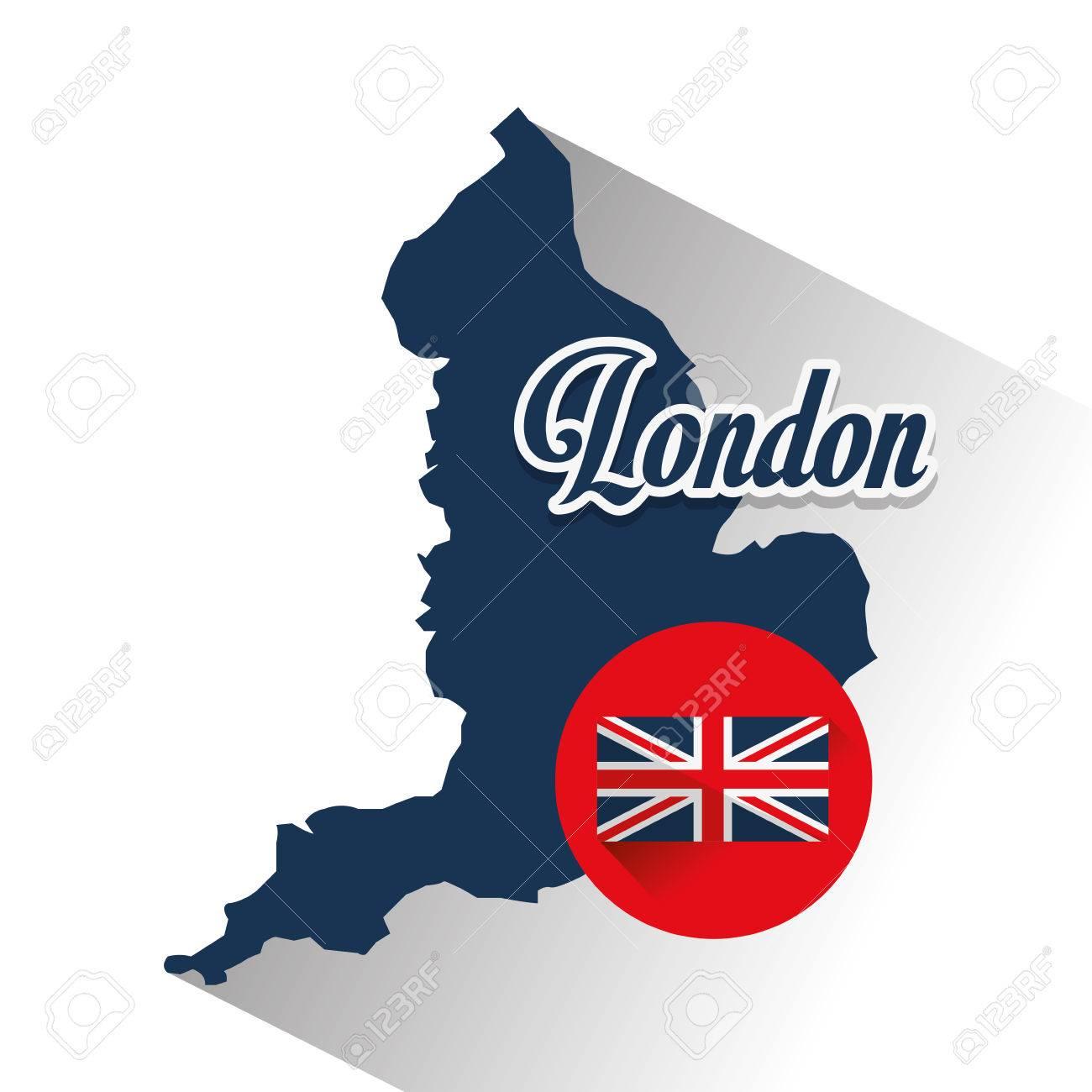 Carte Londres Angleterre.Icone De Carte Et De Drapeau Londres Angleterre Theme Du Tourisme Design Colore Illustration Vectorielle