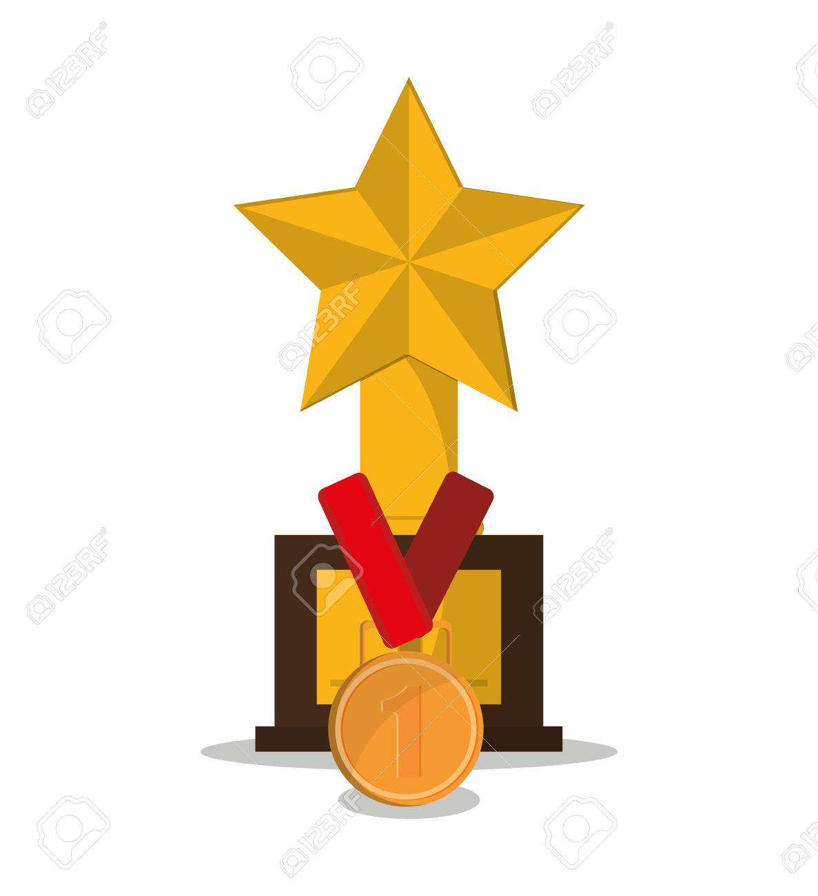 Gold Trophy Medal And Star Icon Champions League Winner Success Theme Colorful Design