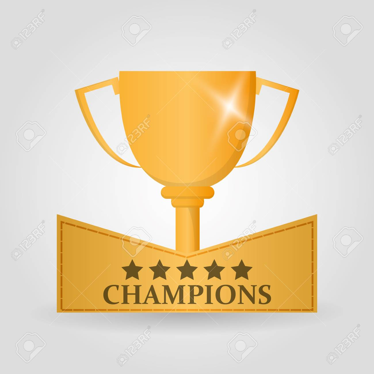 Gold Trophy Cup Icon Champions League Winner And Success Theme Colorful Design Vector
