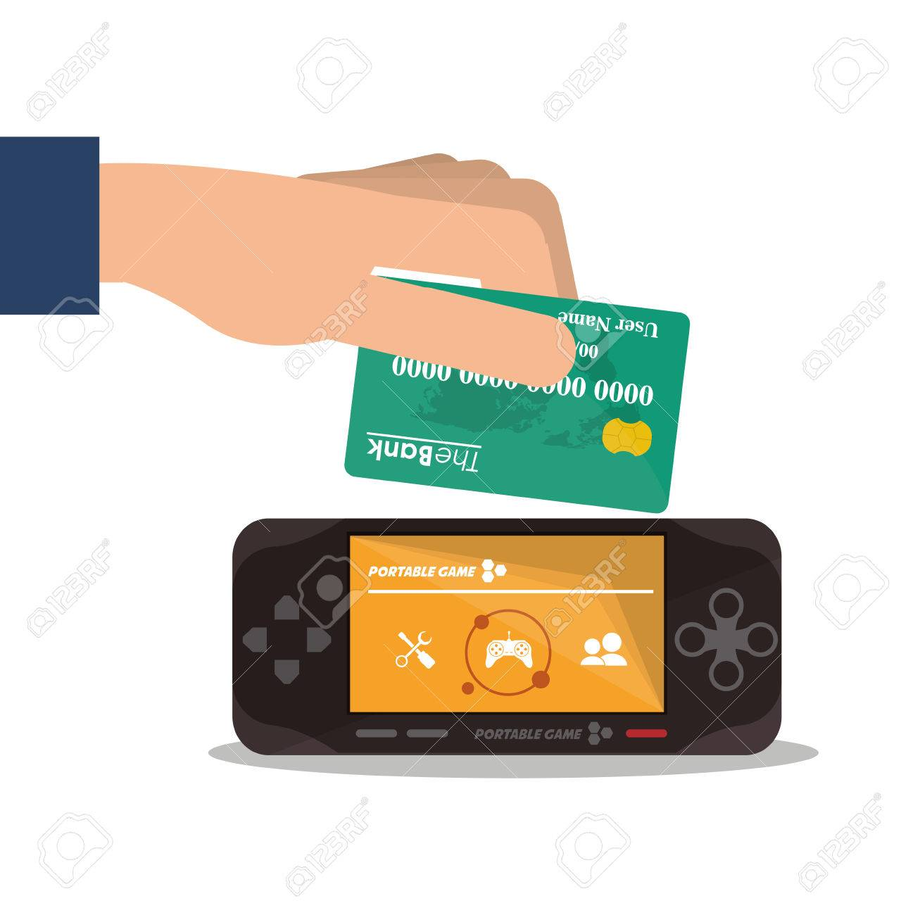 Videogame and credit card icon  Payment shopping commerce and