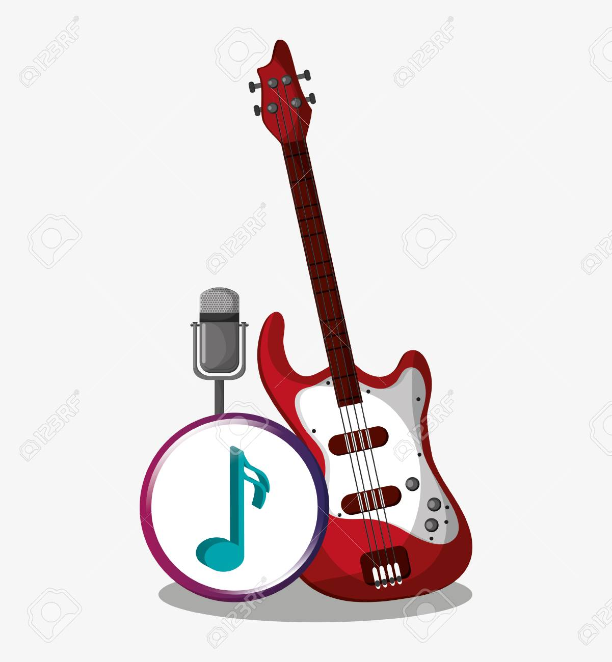 Electric Guitar And Microphone Icon Music Sound Musical And