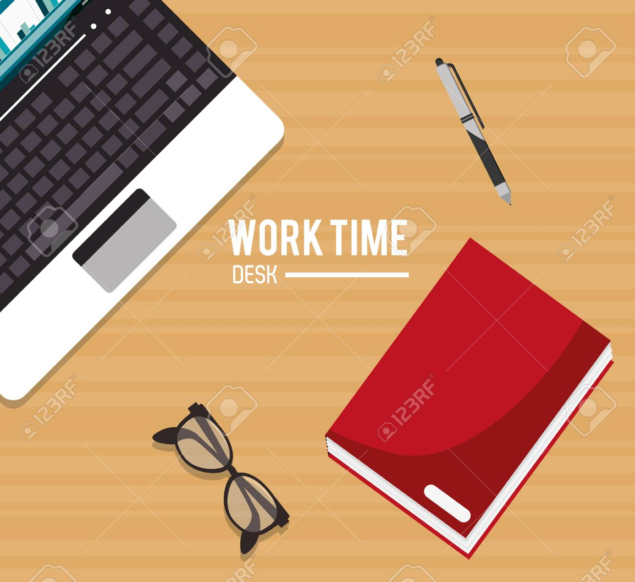laptop over desk notebook and glasses icon work time office