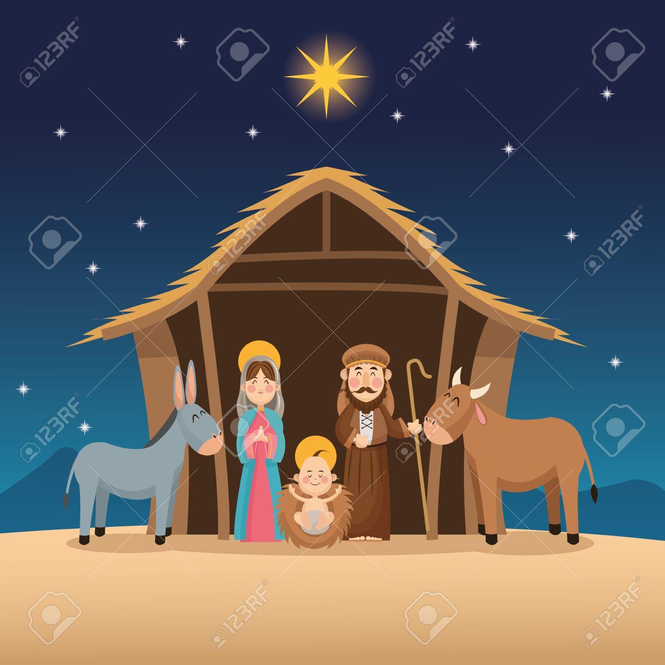 Baby Jesus Mary And Joseph Cartoon Icon. Holy Family And Merry ...