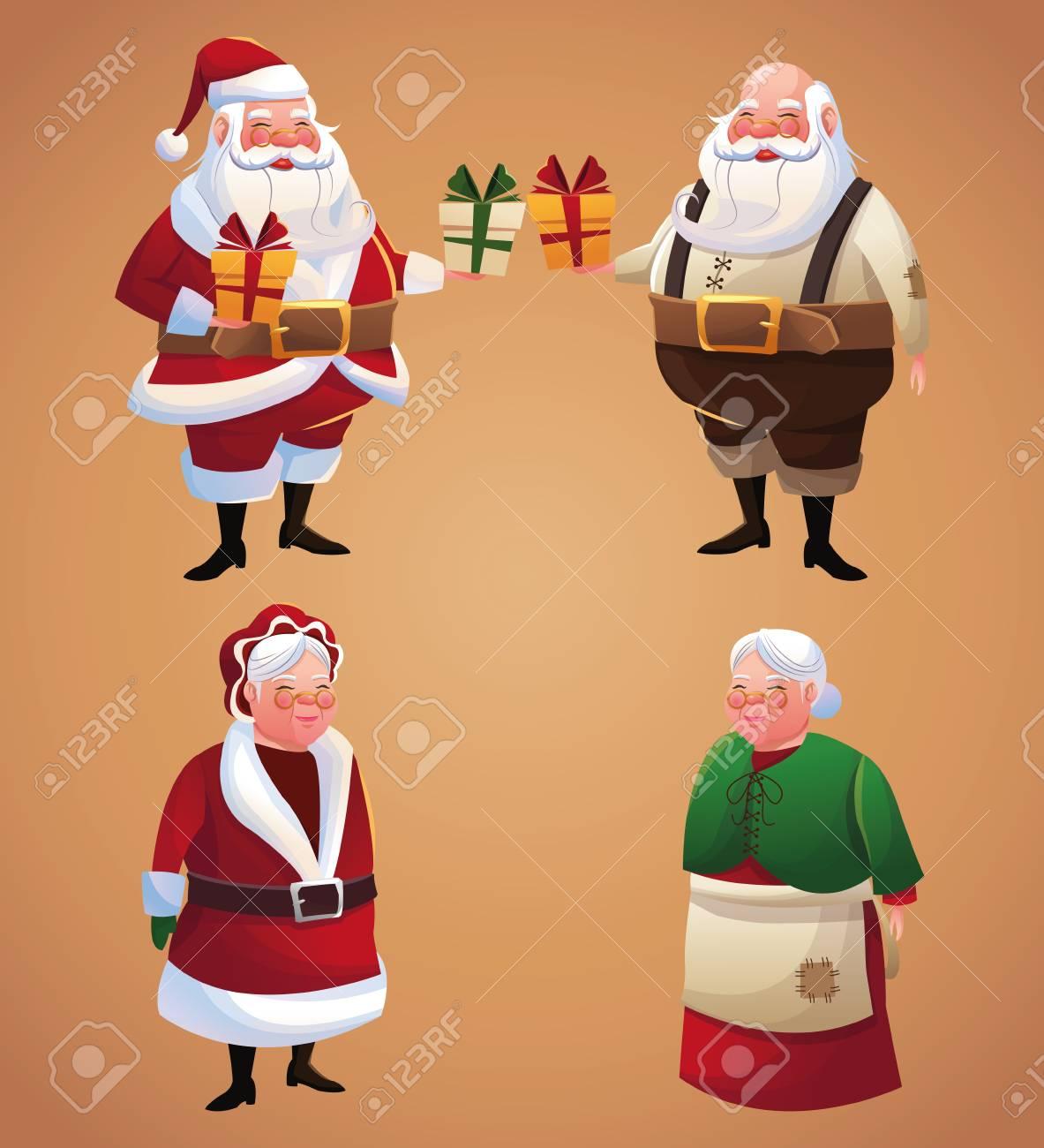 Santa And Wife Cartoon With Gift Icon. Christmas Season Card ...