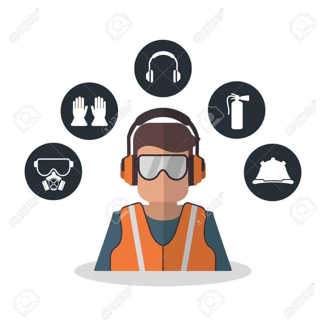 avatar worker with glasses icon industrial safety security and