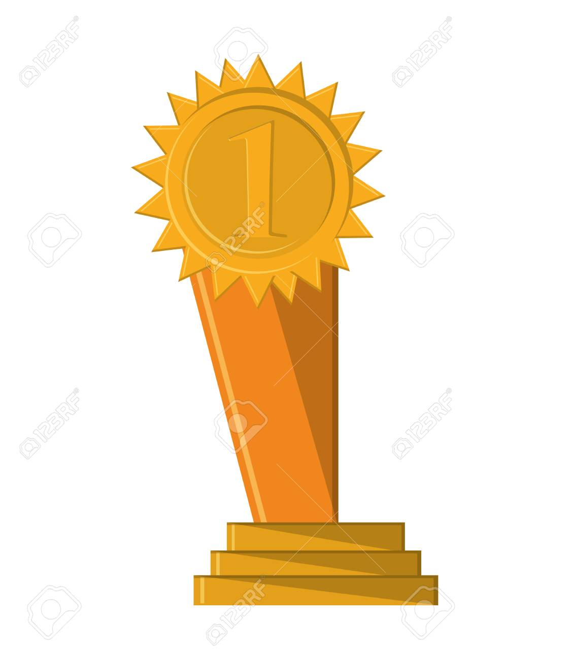 gold trophy icon  Winner competition success price and award