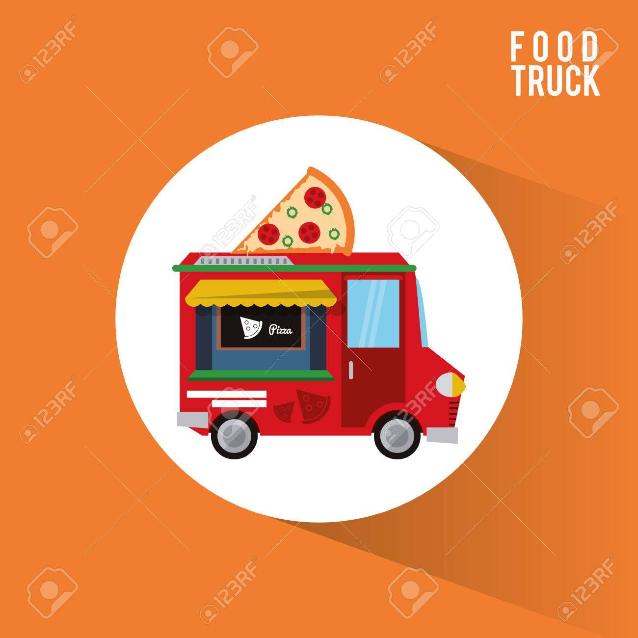 pizza food truck icon urban american culture menu and consume