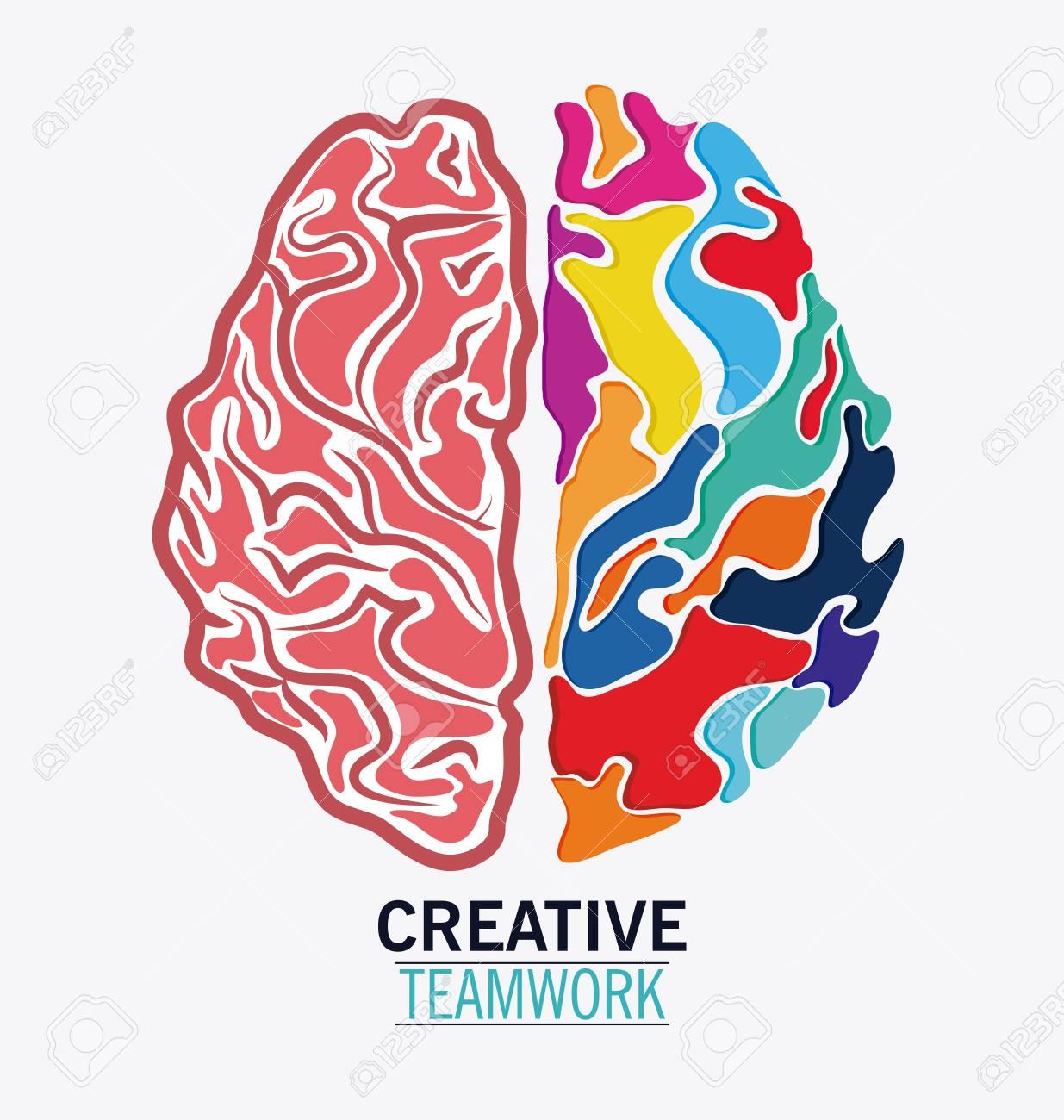 brain icon creative teamwork and big idea theme colorful and
