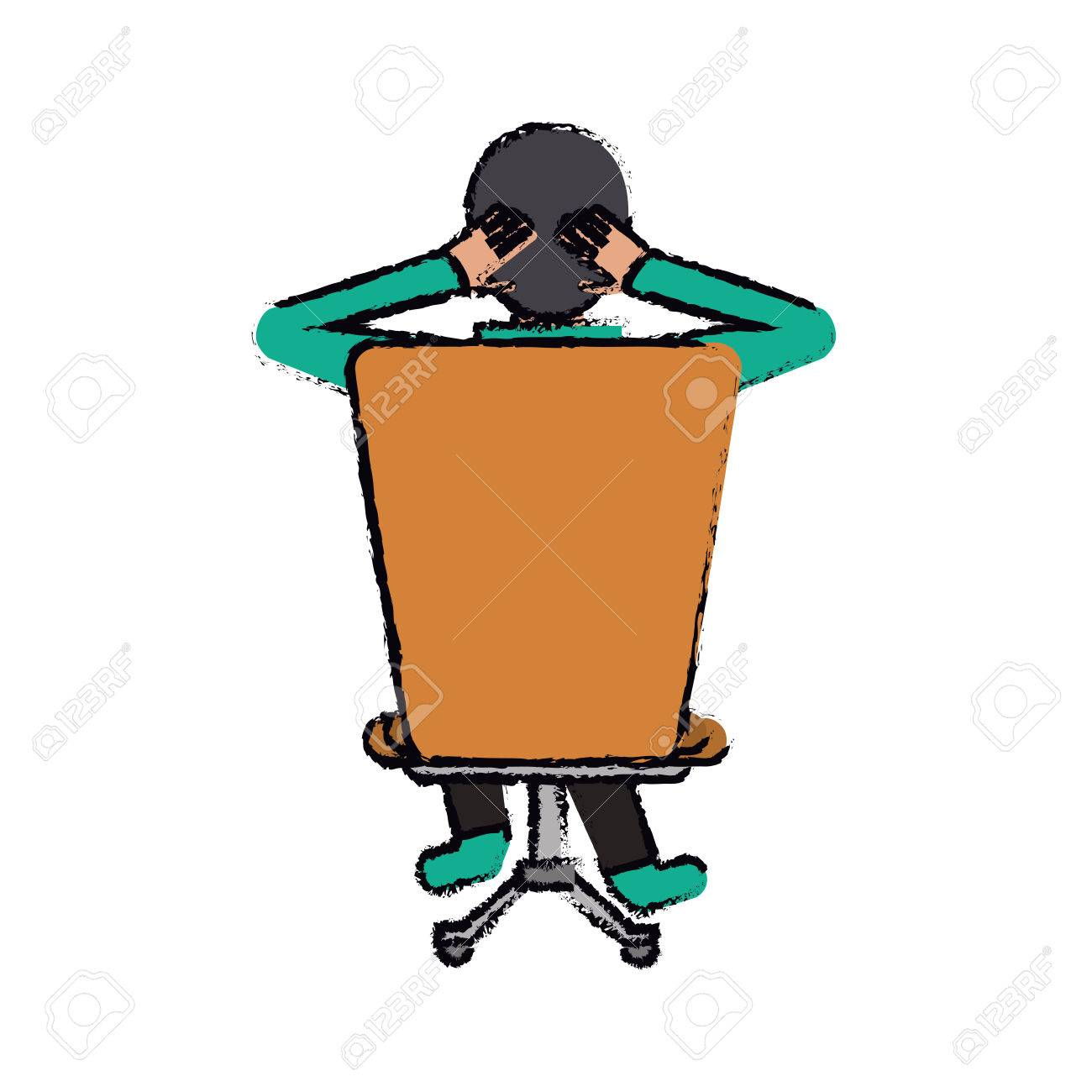 cartoon man sitting on back chair relaxing vector illustration