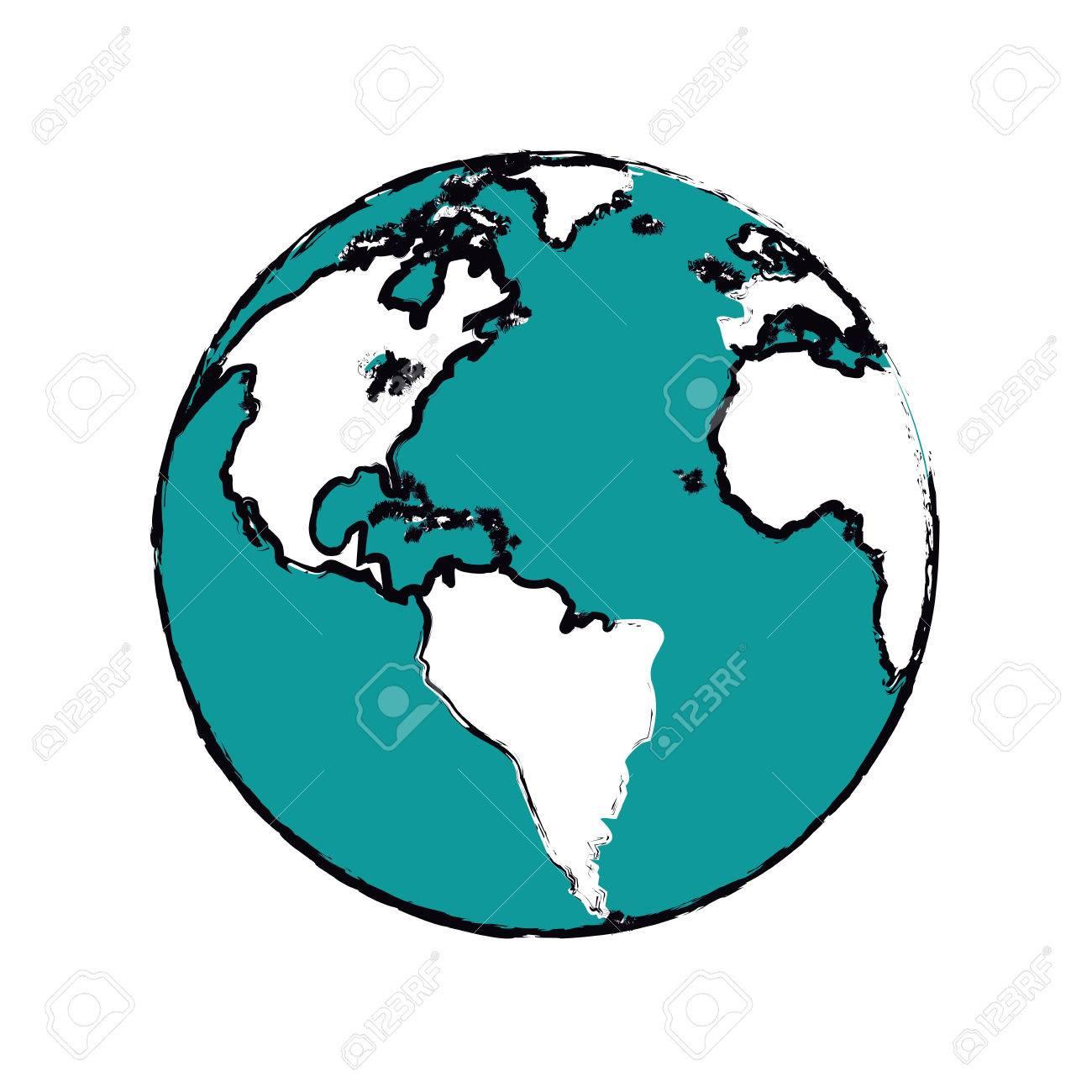 cartoon globe map world earth business icon vector illustration stock vector 69444721