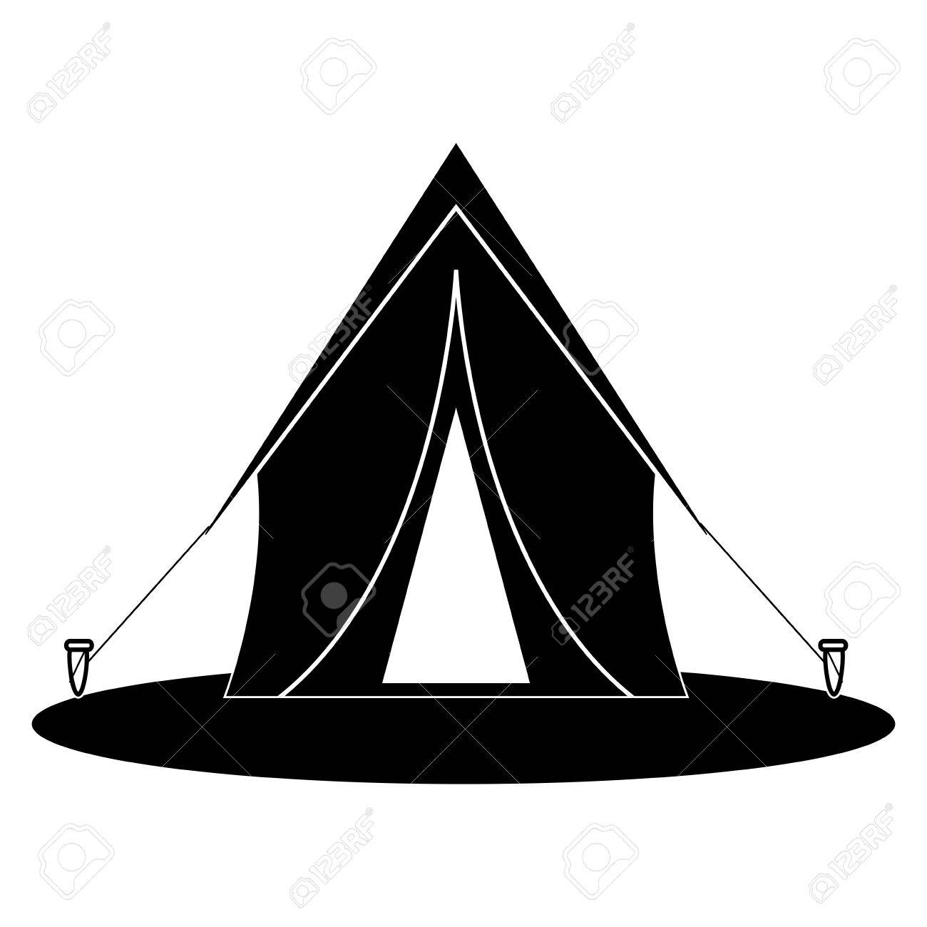 Silhouette Tent Equipment Camping Activities Vector Illustration Stock