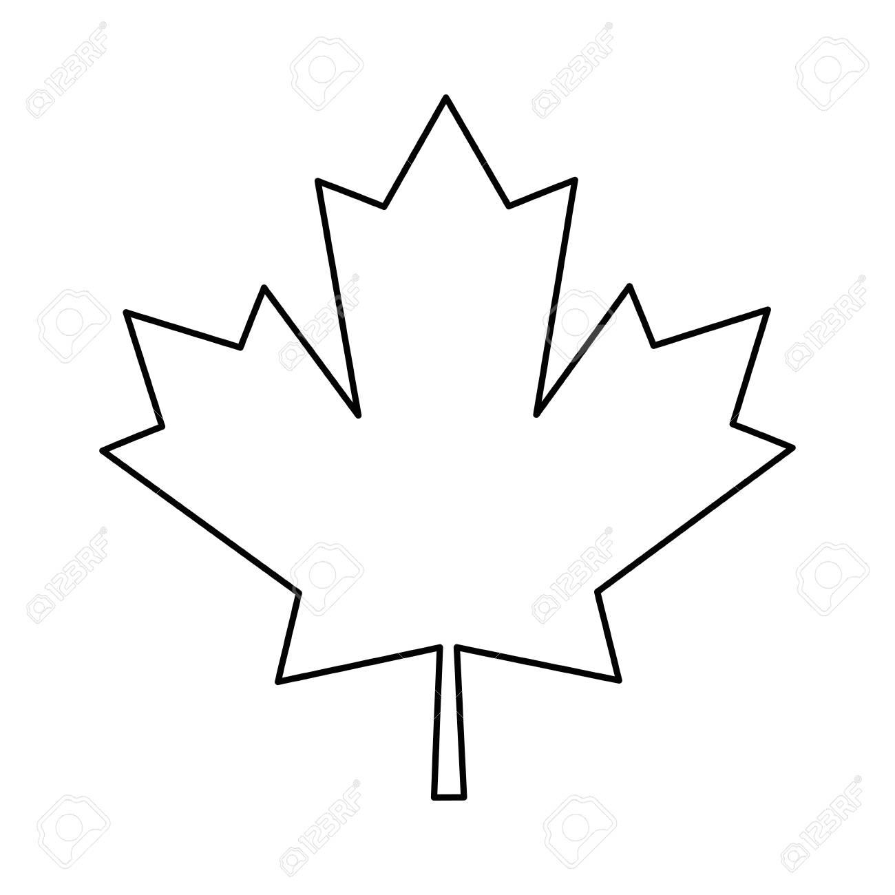Maple Leaf Green Sign Canadian Outline Vector Illustration Eps
