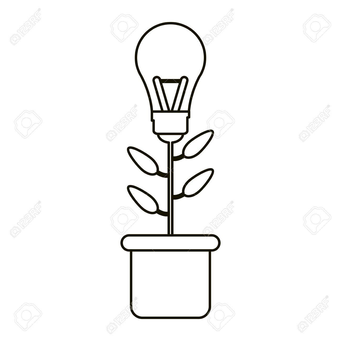 Bulb Idea Plant Pot Ecology Outline Vector Illustration Eps 10