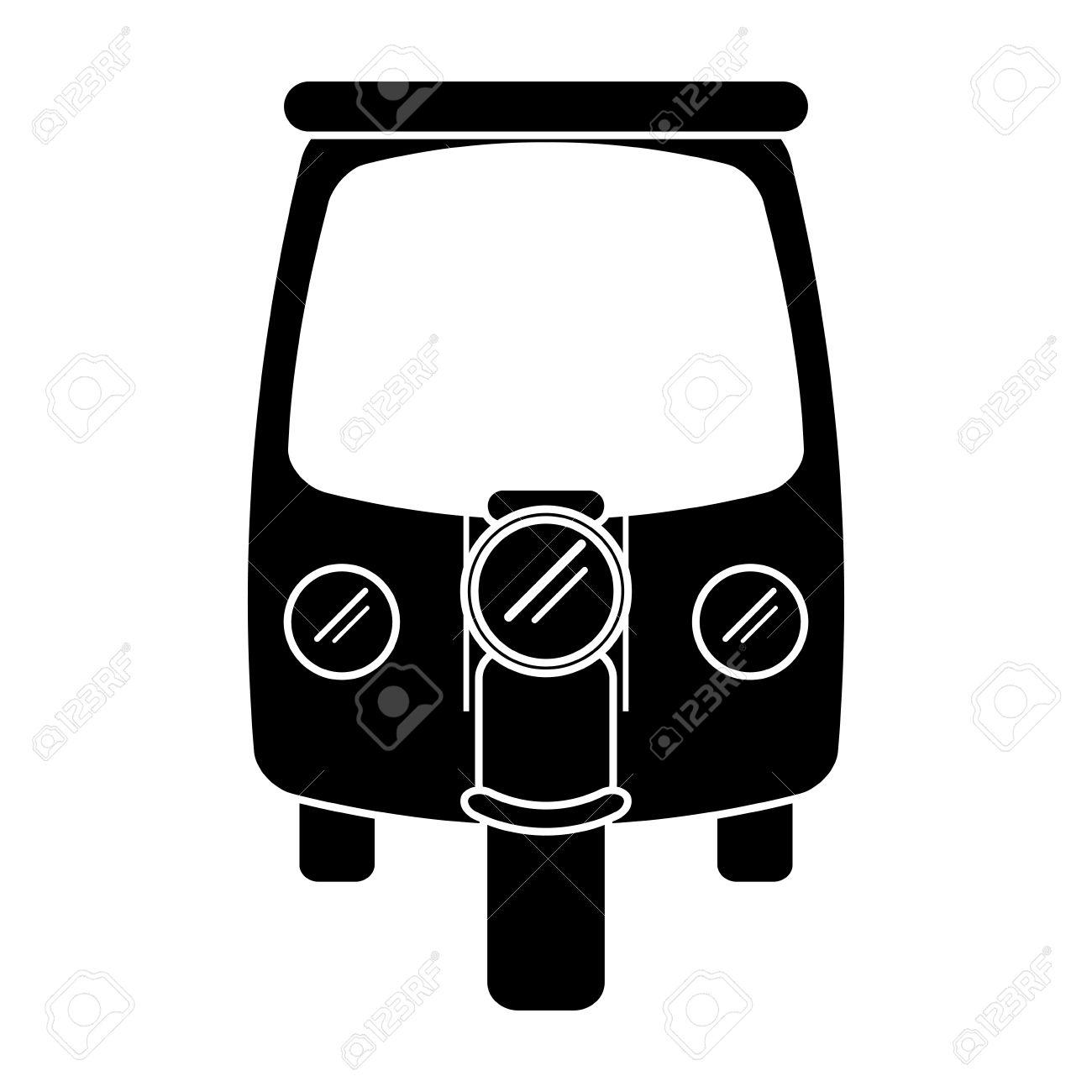 シルエット モーター人力車輸送三輪車ベクトル イラスト Eps 10の
