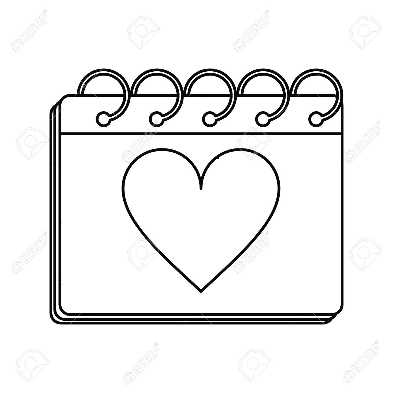 valentine day calendar love heart date outline vector illustration