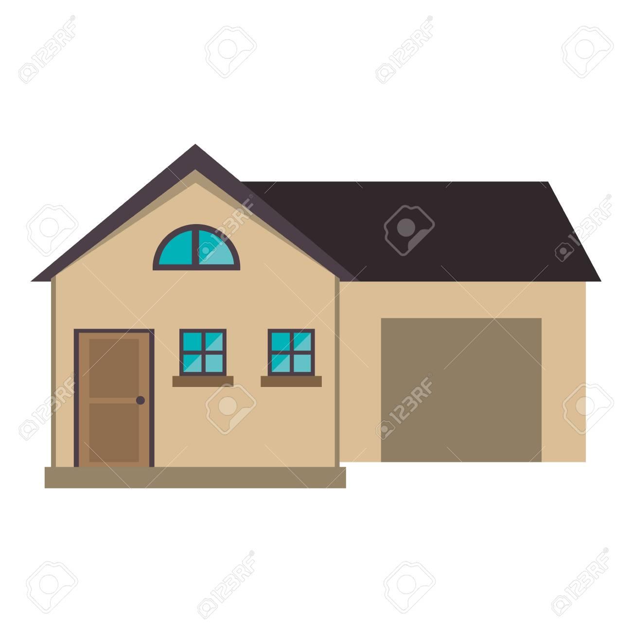 Banque dimages style moderne de maison dessin animé avec garage vector illustration eps 10