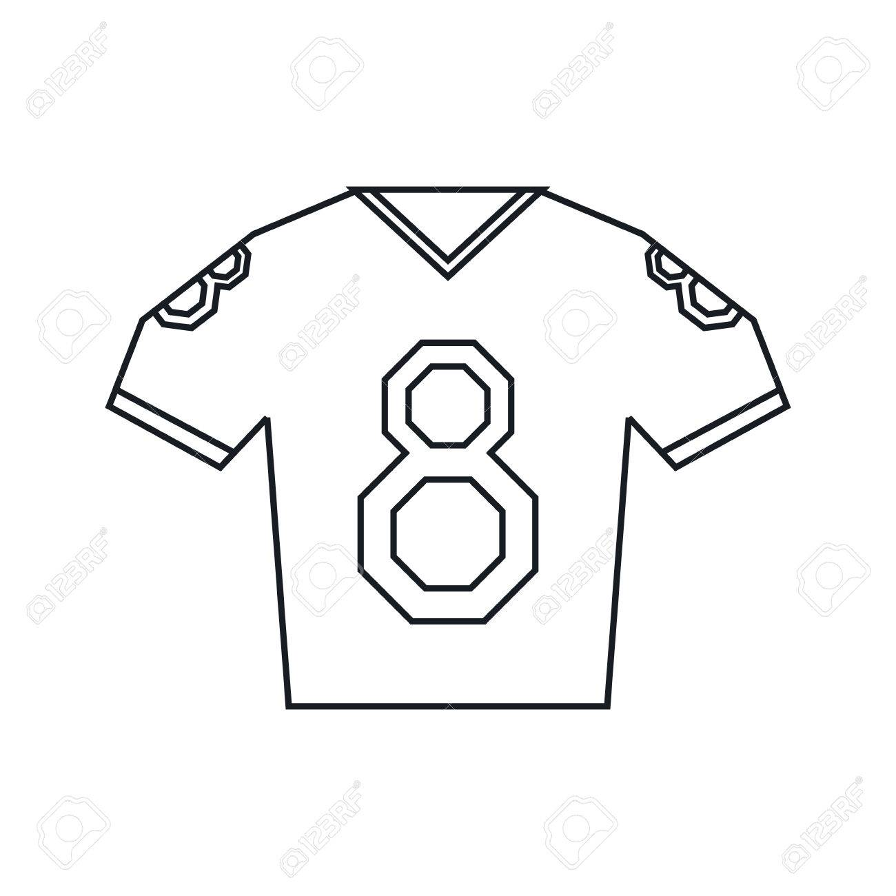 jersey american football tshirt uniform outline vector illustration