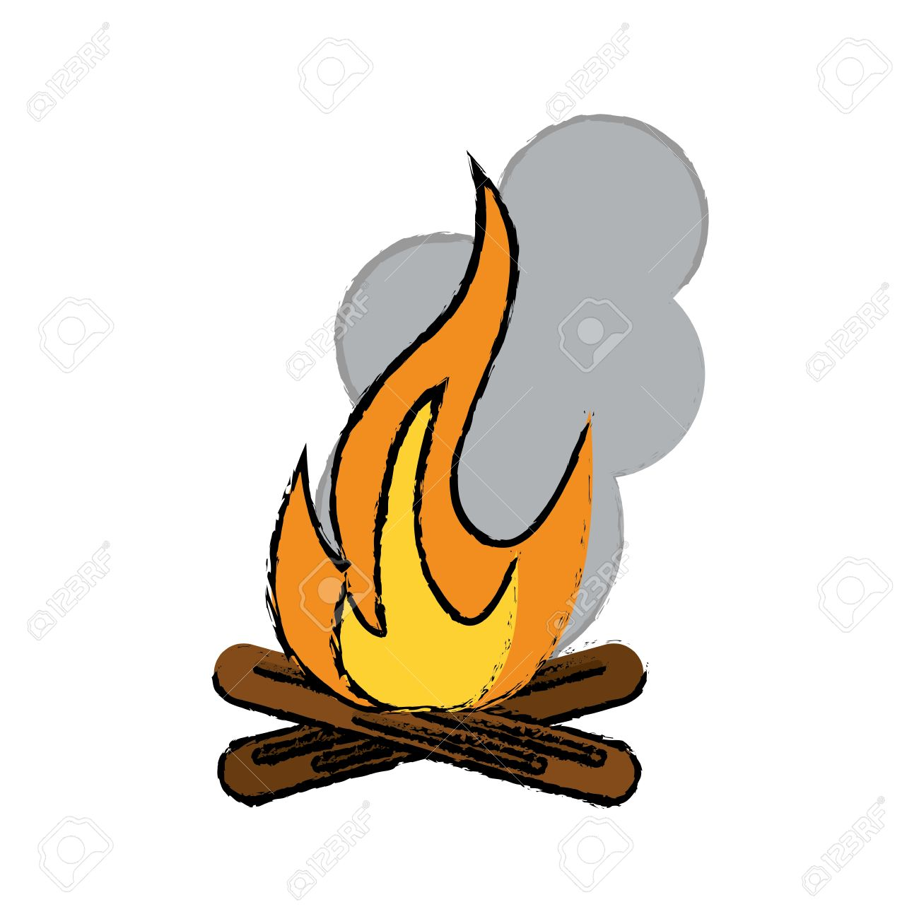 Drawing Campfire Woods Camping Vector Illustration Eps 10 Stock