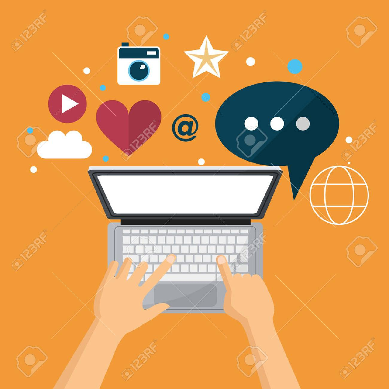 hand using laptop social media network vector illustration eps 10 - 68749126