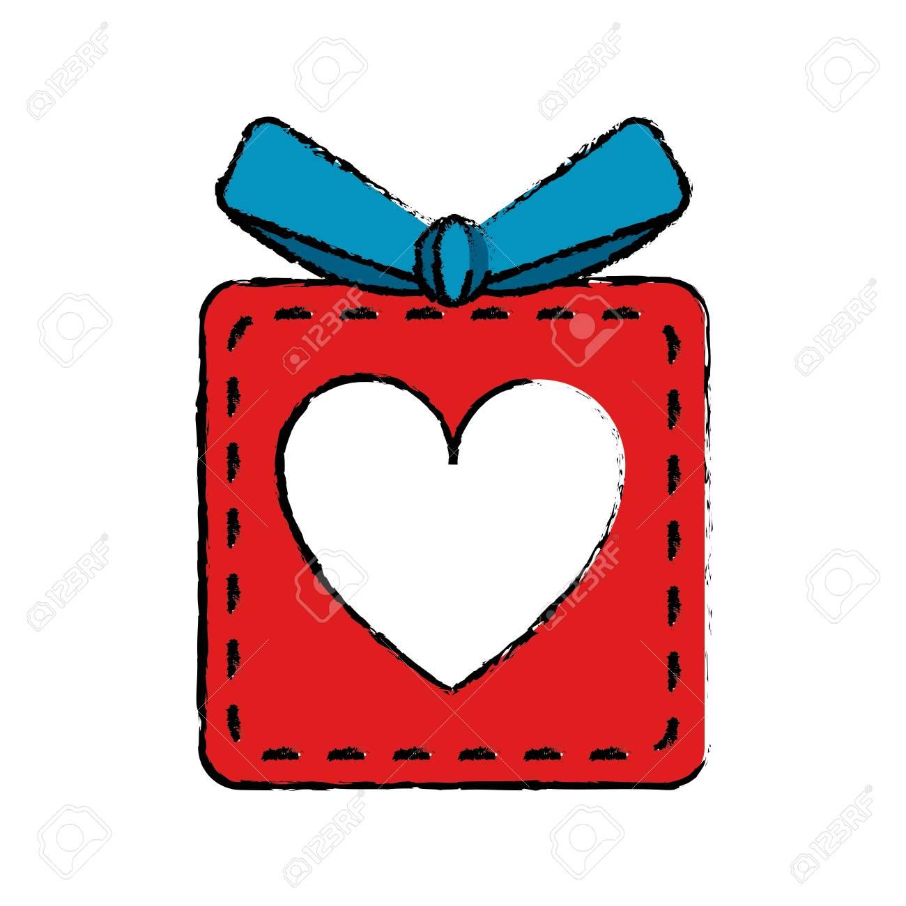 Dibujo Caja De Regalo Roja Corazón Amor Presente Ilustración