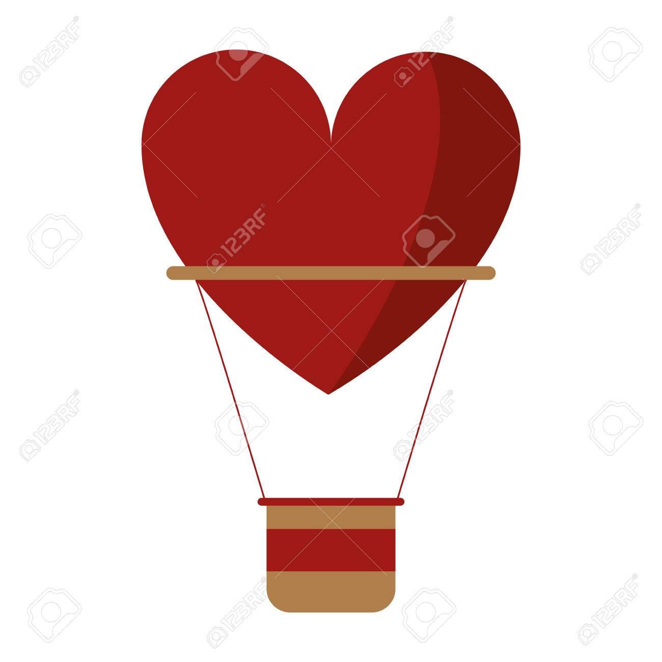 airballon heart love romantic classic vector illustration Stock Vector - 68848601