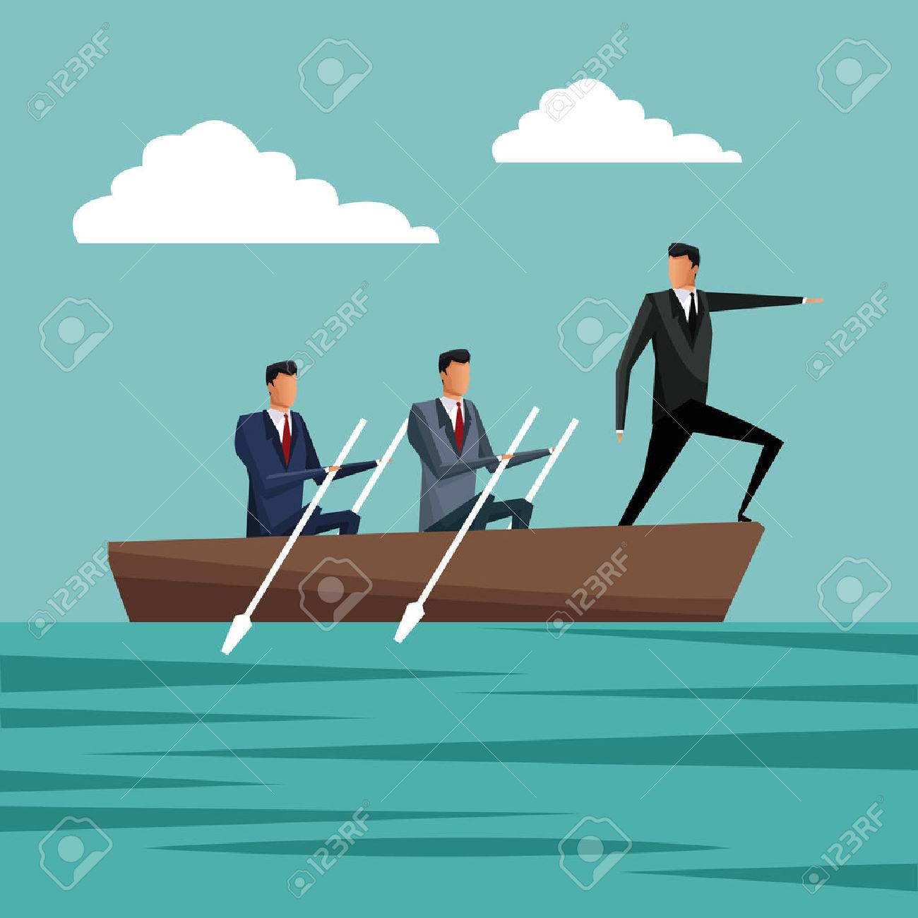 business people paddling team work manager growth vector illustration eps 10 - 69497073